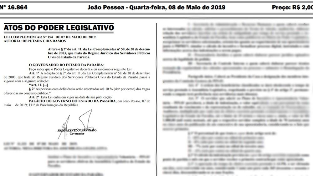 Sancionada lei que aumenta para 10% o número de vagas, em concursos, para PCDs no estado da Paraíba