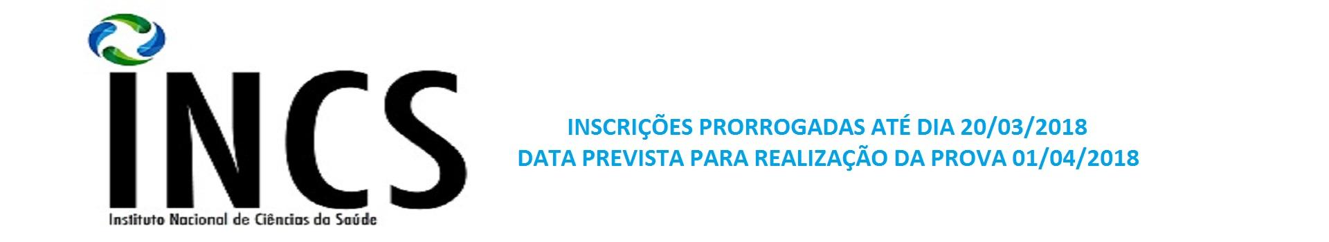 INCS - PS N° 01/2018 - EDITAL DE CONVOCAÇÃO PARA AS PROVAS OBJETIVAS, NA CIDADE DE SÃO JOSÉ DOS CAMPOS