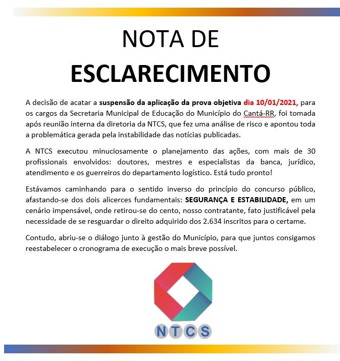 Suspensão da aplicação das provas para o dia 10/01/2021